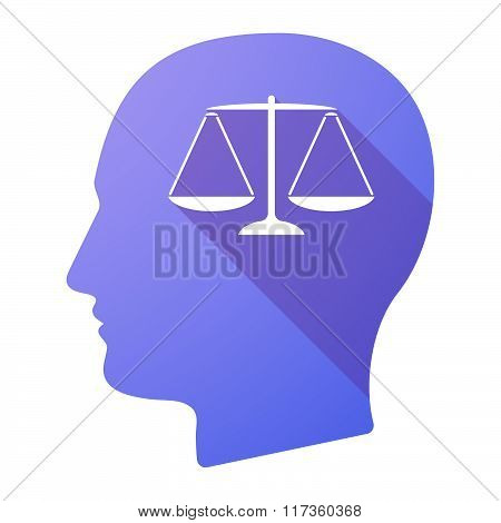 Male Head Icon With A Justice Weight Scale Sign