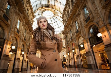 Woman In Galleria Vittorio Emanuele Ii Looking Into The Distance