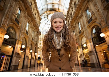 Portrait Of Woman Shopper In Galleria Vittorio Emanuele Ii