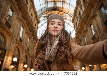 Glamour Woman Taking Selfie In Galleria Vittorio Emanuele Ii