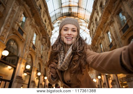 Woman Shopper Taking Selfie In Galleria Vittorio Emanuele Ii