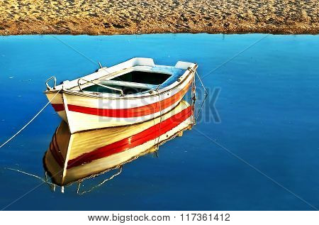 water reflection of a fishing boat