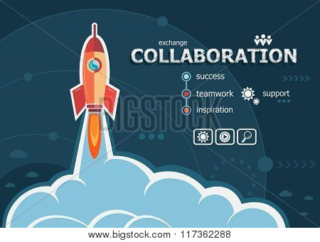 Collaboration Design And Concept Background With Rocket.