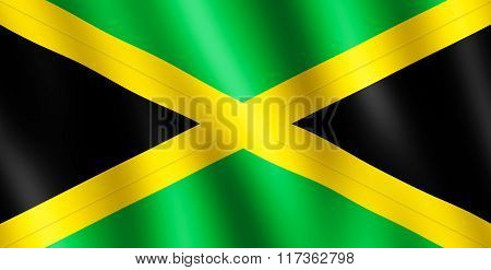 Flag Of Jamaica Waving In The Wind