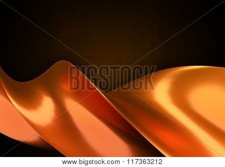 Abstract Object As Orange Swirl Curves.