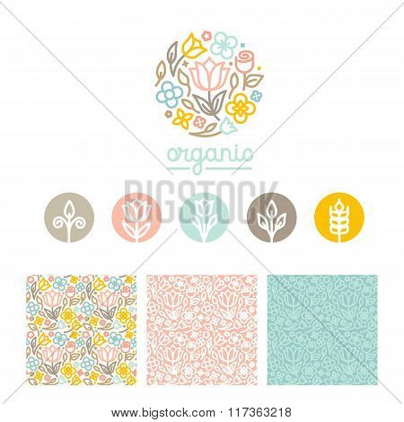 Vector Set Of Logo Design Templates, Seamless Patterns And Signs For Identity
