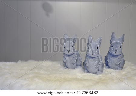 Grey Easter Bunnies