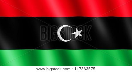 Flag Of Libya Waving In The Wind