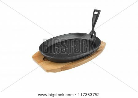 Cast Iron Serving Griddles Pan On Wood Plate, White Isolated