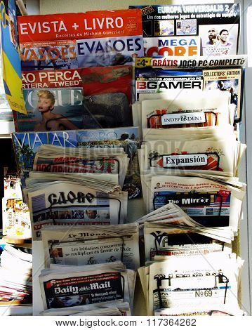 Variety of daily newspapers and magazines
