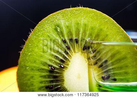 Slice Of Juicy Ripe Green Kiwi