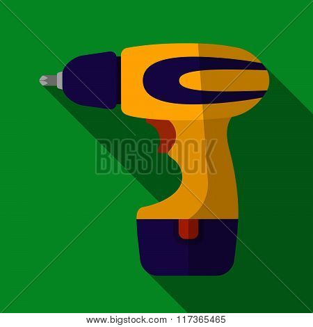 Icon Of Toy Electric Screwdriver In Flat Design