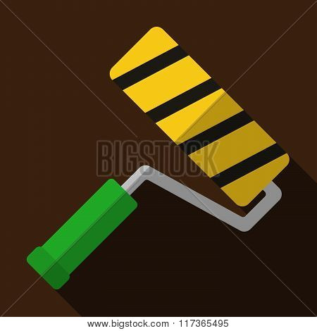 Icon Of Toy Roller Brush In Flat Design
