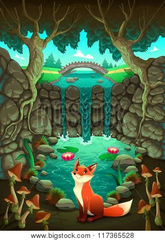 The fox near a pond. Funny cartoon and vector illustration
