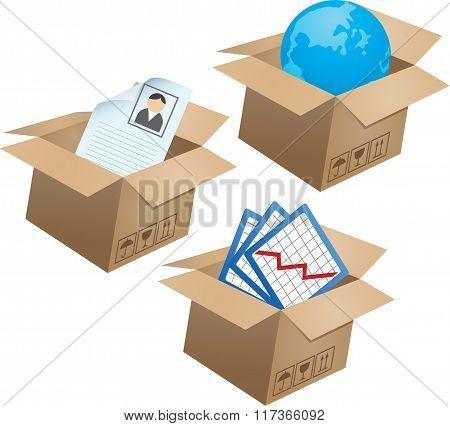 Business symbols in boxes. Set - 02
