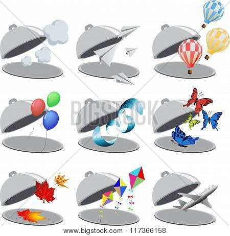 Set of flying objects in cloche-04