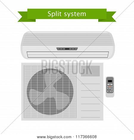 Air conditioning. Split system. Vector isolated illustration