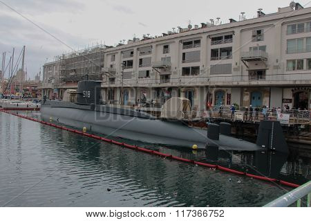 Submarine in Genoa Port.