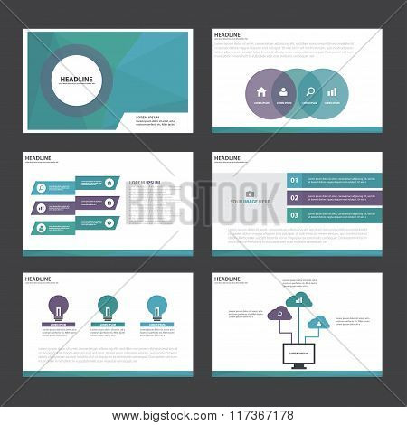 purple blue presentation templates Infographic elements flat design set