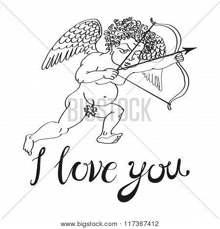 I Love You. Vector Illustration. Angel