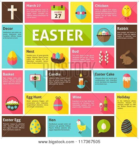 Flat Design Vector Icons Infographic Easter Concept