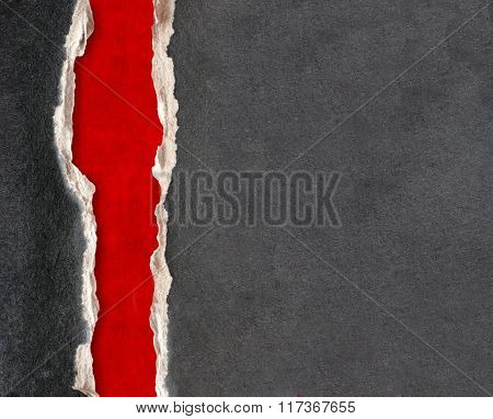 Grunge frame with paper and leather texture of grey color and red color