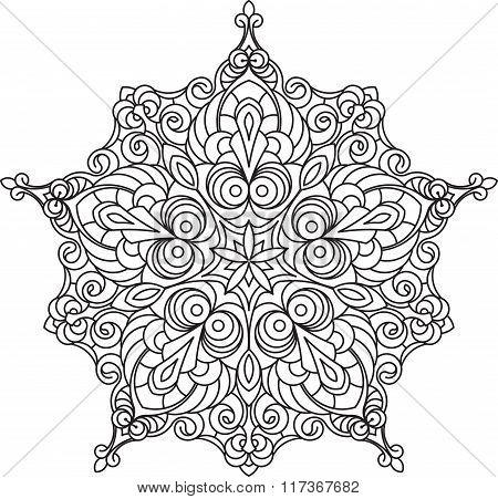 Abstract Vector Black Lace Design In Mono Line Style - Five-finger Mandala, Ethnic Decorative Elemen