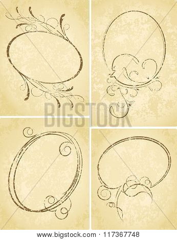 Beautiful Collection Of Oval Frames With Aged Backgrounds. Vector Illustration.