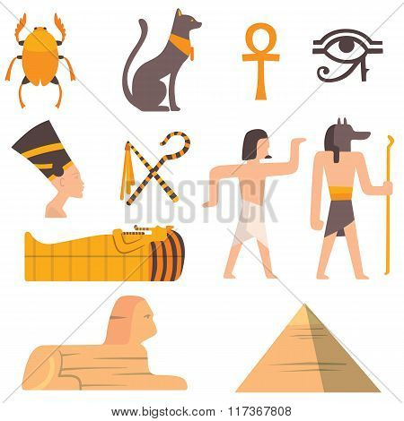 Egypt travel vector icons symbols