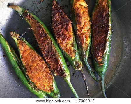 Pungent green stuffed chili. Indian homemade recipe.