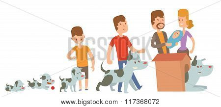 Boy and dog friends kife stages vector illustration