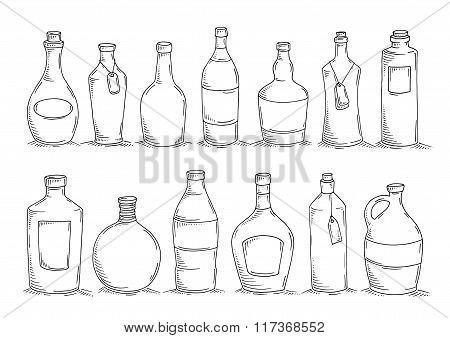 Set Of Cartoon Doodle Bottles