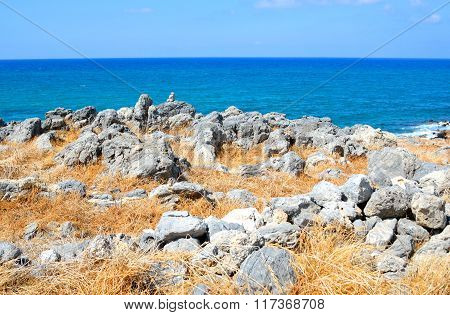 Rocks On The Coast Of Aegean Sea.