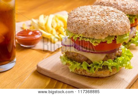 Delicious Healthy Hamburger on Whole Wheat Bun and French Fries
