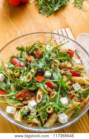 Whole Wheat Pasta Salad with Fresh Arugula, Mozzarella,  Roasted Red Bell Peppers and Pesto Sauce