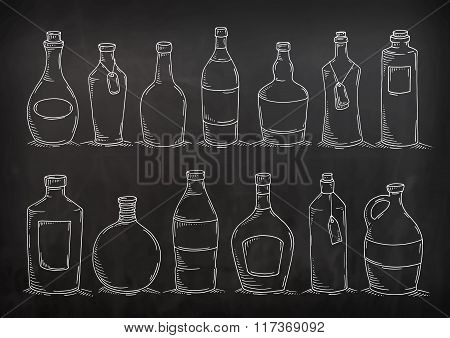 Set Of Cartoon Doodle Bottles.