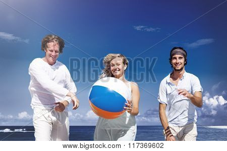 Friendship People Fun Playing Beach Travel Concept