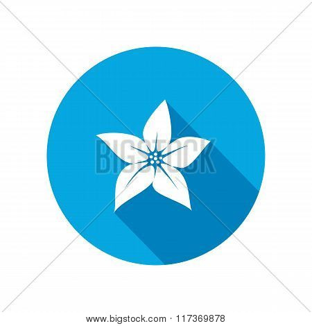 Orchid flower icons. Floral symbol. Round white sign on blue flat button with long shadow. Vector
