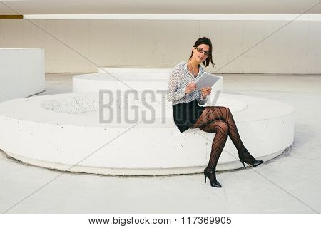 Modern Busienss Professional Woman Reading On Tablet