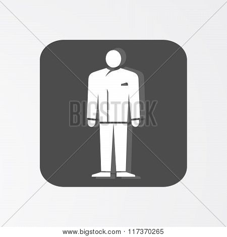 Businessman web icon. Lead simbol.  White silhouette on dark grey background. Vector illustration