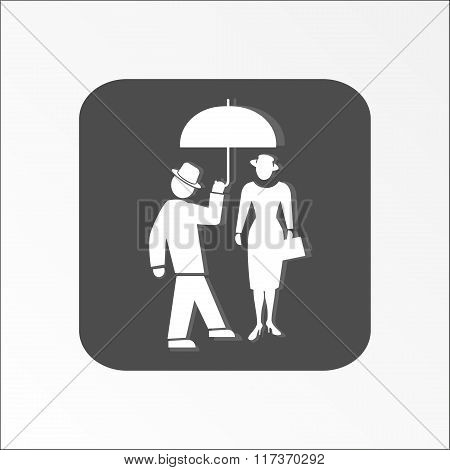 People icon. Two person. Meeting, familiarity, friends, love symbol. White sign on dark gray flat bu