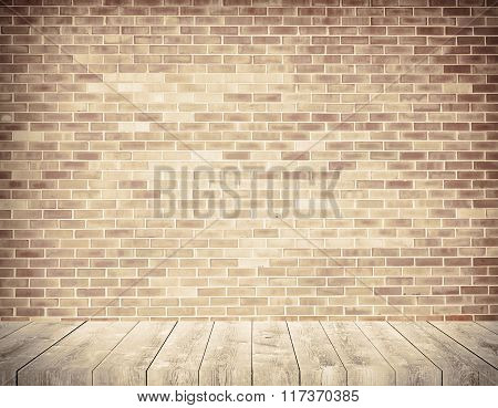 Brick grunge weathered brown wall with wooden shelf, walkway or table