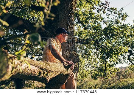 Senior Man Sitting On Branch Of Old Tree.