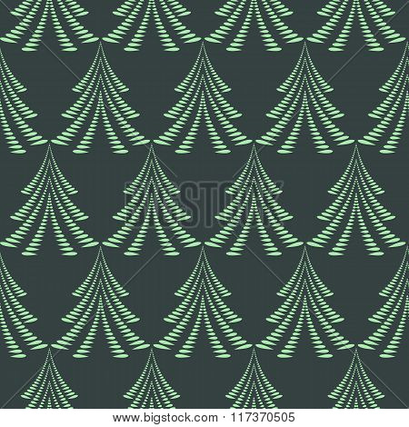 Seamless Christmas pattern. Stylized ornament of trees, firs on dark background. Twist silhouettes w