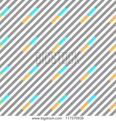 Seamless geometric pattern. Stripy texture. Diagonal gray, blue, yellow strips on white background.
