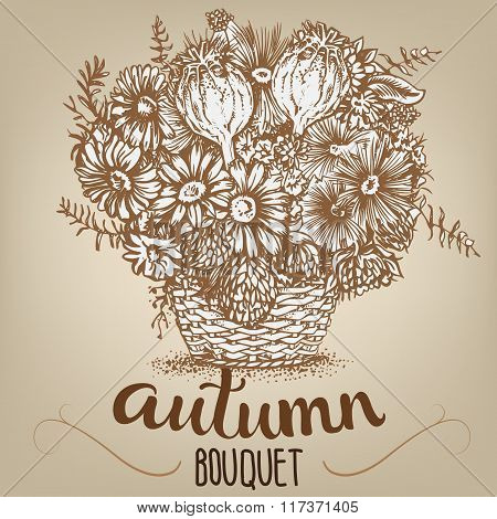 Drawing Of Autumn Bouquet