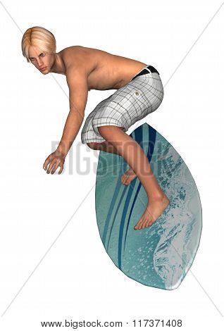 Male Surfer On White