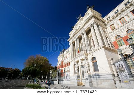 MADRID SPAIN - NOVEMBER 14 2015: Neoclassical building of the Ministry of Agriculture and Atocha Metro Station in the center of Madrid Spain
