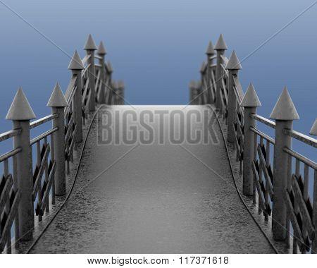 Image of the iron pedestrian bridge. 3d illustration