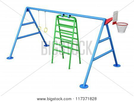 Playground isolated on white background. 3d rendering